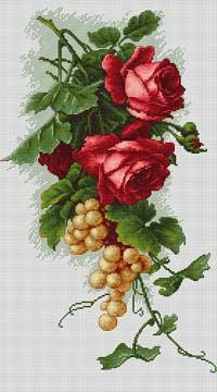 Красные розы с виноградом вышивка крестом