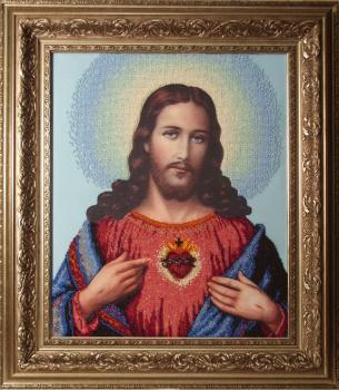 Иисус (сердце Христово) вышивка бисером