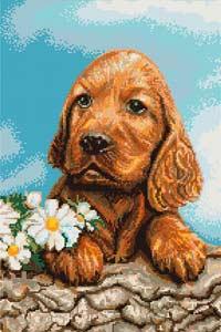 Вышивка крестом Ожидающая собачка