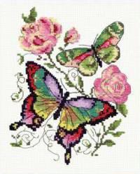 Бабочки и розы - набор для вышивки крестом