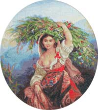 Итальянка с цветами вышивка крест