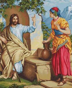 Иисус и самаритянка вышивка крестом