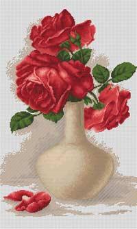 Вышивка крестом красная ваза