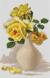 Жёлтые розы в вазе