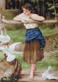 Девушка дразнящая голубей