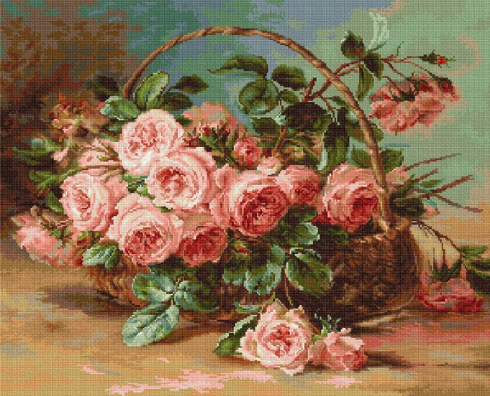 Вышивка крестом корзина с розами схемы