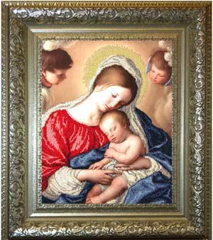 Мадонна с младенцем вышивка бисером