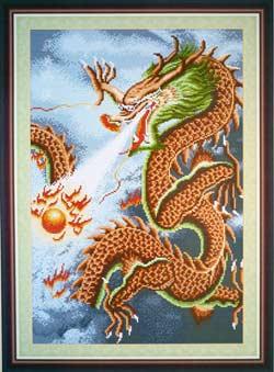 -Золотой дракон вышивка крестом