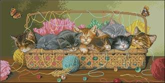 -Новорожденные котята вышивка крестом