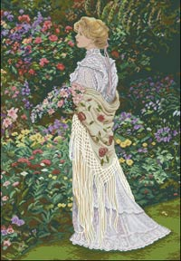 В ее саду вышивка крестом