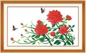 Розы и бабочки - вышивка крестом
