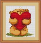 Вышивка крестом Медвежонок с сердечком