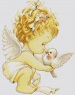 Вышивка крестом ангелочек с голубем