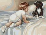 Вышивка крестом Мальчик с собакой