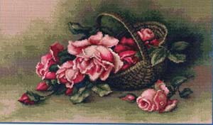 Корзина с розами вышивка крестом