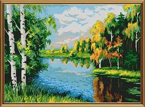 Тихая река - полная вышивка