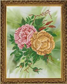 Розы схема с бисером!!