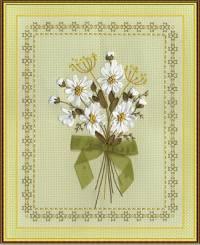Вышивка лентами - Букет белых ромашек