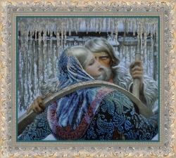 Встреча (по мотивам картины К. Васильева)вышивка бисером