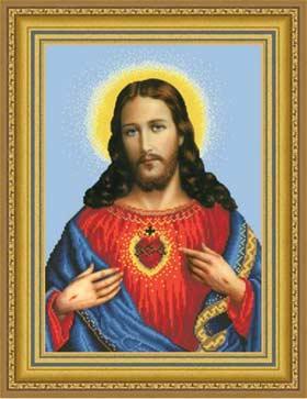 Сердце Христа схема вышивки бисером