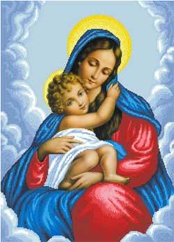 -Мария и Дитя схема полной зашивки бисером