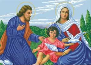Святое Семейство схема полной вышивки бисером