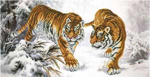 --Тигры - схема для вышивки бисером