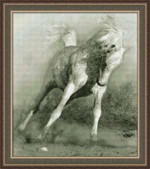 Вышивка крестом Белый конь