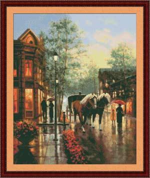 Вышивка крестом Весенний дождь