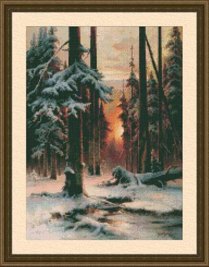 Вышивка крестом Закат в зимнем