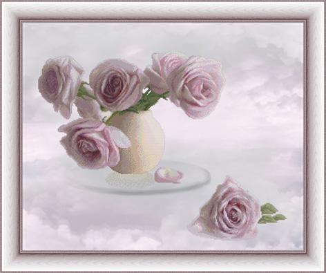 Вышивка крестом Розовые облака