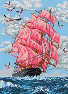 Корабль - полная вышивка