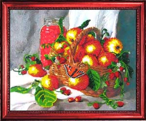 Земляничный натюрморт вышивка бисером