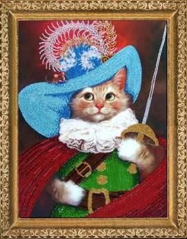 Кот в сапогах вышивка бисером