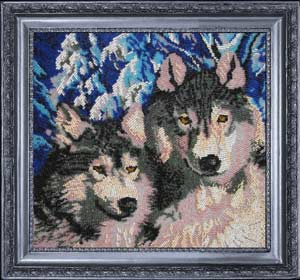 Волки вышивка бисером