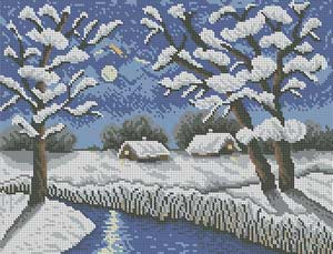 Зимний пейзаж - схема полной зашивки бисером