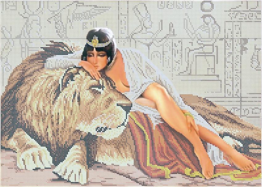 Девушка и лев схема вышивки 6