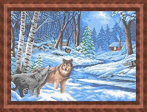 Волки в зимнем лесу - полная