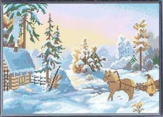 Зимний день - полная вышивка