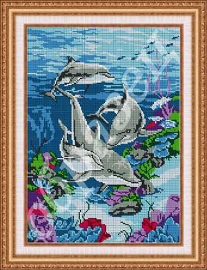 Дельфины - полная вышивка