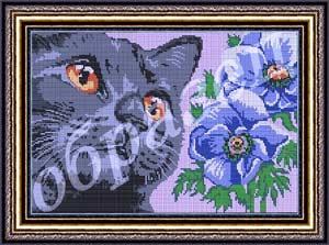 Кот с цветком - полная вышивка