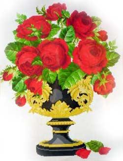 Розы в позолоченной вазе