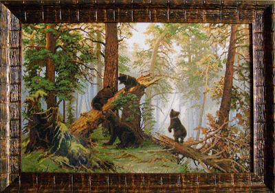 - Вышитая картина Утро в сосновом лесу
