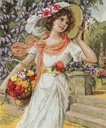 - Девушка с корзиной цветов