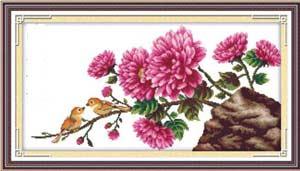Птички в цветах - вышивка кретом