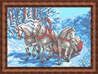 Тройка лошадей (большая) - полная вышивка