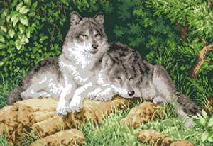 Волки - полная зашивка бисером схема
