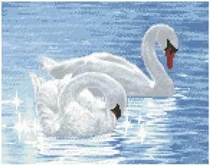 --Лебеди - полная зашивка бисером схема
