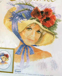 Схема вышивки крестом - Девушка в голубой шляпке