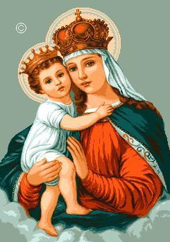 Схема вышивки крестом - Пресвятая Дева с младенцем